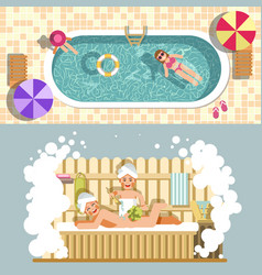 Sauna and swimming pool flat spa relax or vector