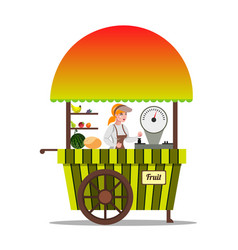 local market farmer selling fruits in his stall vector image