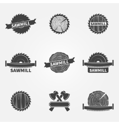 Sawmill logo or label vector