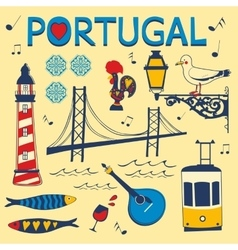 Stylish collection of typical Portuguese icons vector image