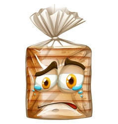 Bread package with crying face vector