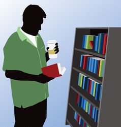Man reading at bookstore vector