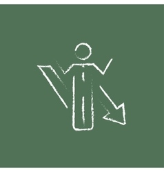 Businessman with arrow down icon drawn in chalk vector