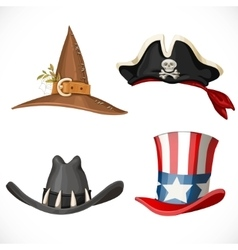 Set of hats for the carnival costumes - uncle sam vector