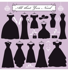 Silhouette of black party dressesaccessories kit vector