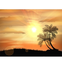 Sunset background with palm tree vector