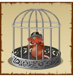 Fabulous wild animal in a steel cage in captivity vector