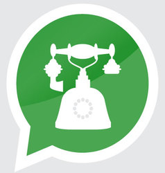 Retro telephone icon sticker design flat symbol vector image