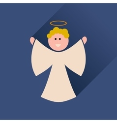 Flat icon with long shadow christmas angel vector