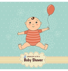 Baby shower card with a cute baby vector