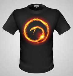T shirts black fire print man 05 vector