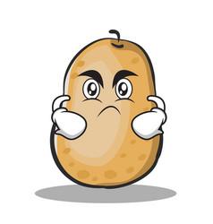 Angry potato character cartoon style vector