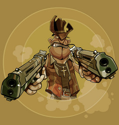 Cartoon man in a cowboy hat firing two pistols vector