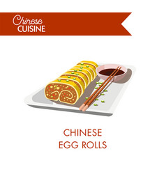 Chinese egg rolls on plate with chopsticks and soy vector