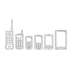 Communication telephone progress Phone evolution vector image