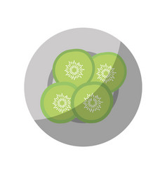 Cucumber slices on plate vector