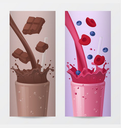 Drink vertical banners with chocolate and fruits vector