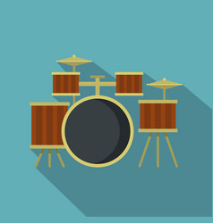 Drum setting icon flat style vector