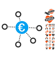 Euro network icon with dating bonus vector