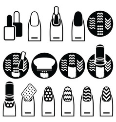 Female gel and hybrid manicure with stamping decor vector