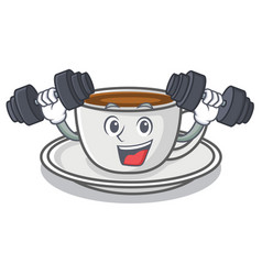 fitness coffee character cartoon style vector image