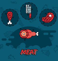 Meat flat concept icons vector