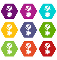 military medal icon set color hexahedron vector image