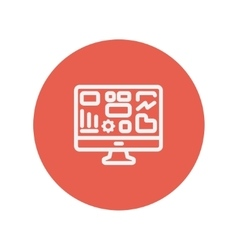 Monitor with business graph thin line icon vector image