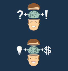 process of finding a solution and money vector image