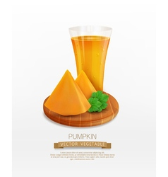 pumpkin and a glass of pumpkin juice vector image