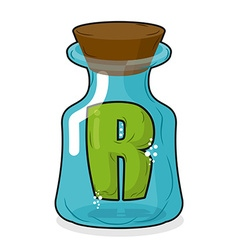 R in magic jar Letter to a lab for tests and vector image vector image