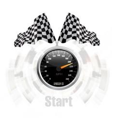 race flag speedometer vector image vector image