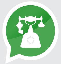 Retro telephone icon sticker design flat symbol vector