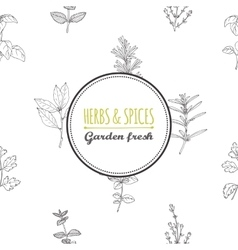 Round label template on seamless pattern with vector image