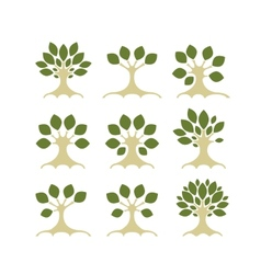 Set of art trees for your design vector image