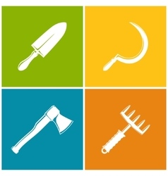 Set of colored farming icons vector