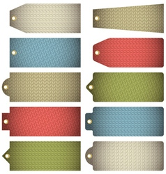 Set of colour label with knitwear texture vector