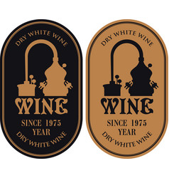 Set of labels for wine with a production of wine vector