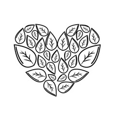Silhouette leaves with form of heart vector
