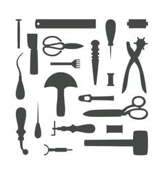 Silhouettes of leather craft tools vector