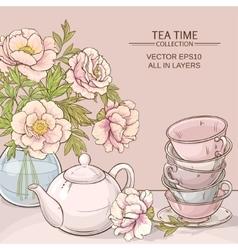 Tea time color vector