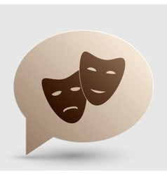 Theater icon with happy and sad masks brown vector