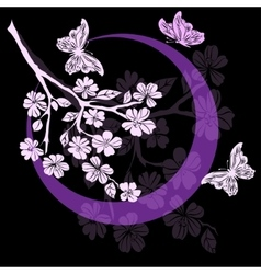 twig cherry blossoms and butterfly vector image vector image