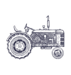 Vintage agricultural tractor sketch hand drawn vector