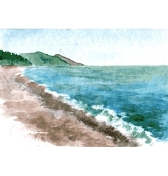 Watercolor coast of sea vector