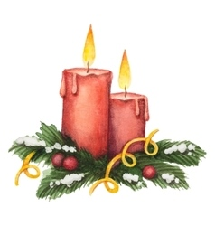 Watercolor red candle and fir branches with vector