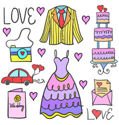 Wedding element style in doodle collection vector