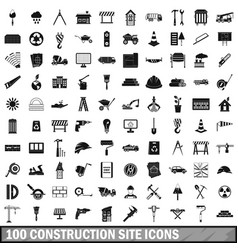 100 construction site icons set simple style vector