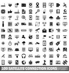 100 satellite connection icons set simple style vector