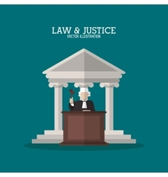 Building and judge of law and justice design vector